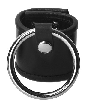Leather Ball Stretcher with 2 Inch Cock Ring (2 inches)