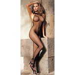 Fishnet and Lace Halter-Top Body Stocking