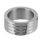 Groved Stainless Steel Cock Ring- Large