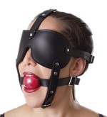 Gag and Blindfold Head Harness- Red